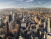 Blick vom Empire State Building Richtung Lower Manhatten, One World Trade Center, Hudson River, Manhatten, New York City, New York, USA