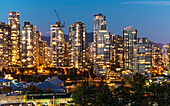 Apartment towers on the north side of False Creek in the evening, Vancouver, BC, Canada.