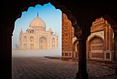 The Taj Mahal is a white marble mausoleum located in Agra, Uttar Pradesh, India. It was built by Mughal emperor Shah Jahan in memory of his third wife, Mumtaz Mahal. The Taj Mahal is widely recognized as 'the jewel of Muslim art in India and one of the un