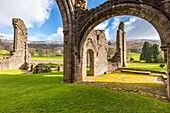 Ruined chapel of Llanthony Priory, Vale of Ewyas, Black Mountains, Brecon Beacons National Park, Monmouthshire, Wales, United Kingdom, Europe.
