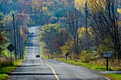 Country road in rural Ontario in autumn.