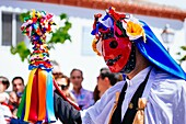 One character called Sin. Pecados and Danzantes de Camuñas, sins and dancers, is a declared national tourist interest, on Thursday Corpus Christi in the municipality of Camuñas, Toledo, Castilla La Mancha, Spain, Europe.