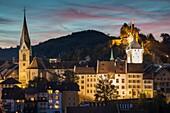 Evening in Baden, canton Aargau, Switzerland.