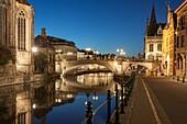 Night falls at St Michael's Bridge in Ghent old town, Belgium.