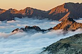 Sunset in Neouvielle Nature Reserve, Hautes-Pyrenees, France. Pyrenees mountains.