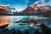 Torres del Paine National Park is a national park encompassing mountains, glaciers, lakes, and rivers in southern Chilean Patagonia. The Cordillera del Paine is the centerpiece of the park. It lies in a transition area between the Magellanic subpolar fore