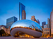 Cloud Gate is a public sculpture by Indian-born British artist Anish Kapoor, that is the centerpiece of AT&T Plaza at Millennium Park in the Loop community area of Chicago, Illinois. The sculpture and AT&T Plaza are located on top of Park Grill, between t