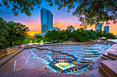 The Fort Worth Water Gardens, built in 1974, is located on the south end of downtown Fort Worth between Houston and Commerce Streets next to the Fort Worth Convention Center. The 4. 3 acre (1. 7 hectare) Water Gardens were designed by noted New York archi
