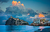 Castello Aragonese is a medieval castle next to Ischia (one of the Phlegraean Islands), at the northern end of the Gulf of Naples, Italy. The castle stands on a volcanic rocky islet that connects to the larger island of Ischia by a causeway (Ponte Aragone