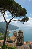 View of the Mediterranean Sea and Umbrella pine tree from the garden of Villa Rufolo in Ravello on the Amalfi Coast, Italy.