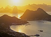 Brazil, State of Rio de Janeiro, Sunset over Rio de Janeiro viewed from Parque da Cidade in Niteroi.