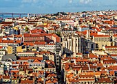 Portugal, Lisbon, Cityscape viewed from the Sao Jorge Castle.