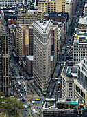 'High angle view of the Flatiron building in the Flatiron district; New York City, New York, United States of America'