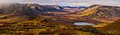 'Panoramic image of the Blackstone Valley in autumn colours along the Dempster Highway; Yukon, Canada'