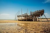 'Wrecked fishing boat on Vilanculos beach, Bazaruto Archipelago; Mozambique'