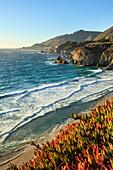 'Cliffs along Big Sur coastline near Rocky Creek Bridge on Highway One; California, United States of America'