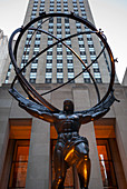 'Statue of Atlas along Fifth Avenue, Rockefeller Center; New York City, New York, United States of America'
