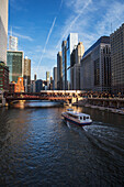 'Chicago Transit Authority train crossing the North Wells Street bridge over the Chicago River; Chicago, Illinois, United States of America'