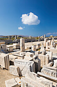 Archaeological remains near the harbour, Delos, UNESCO World Heritage Site, Cyclades Islands, South Aegean, Greek Islands, Greece, Europe