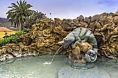 Plaza La Glorieta, fountain,  Las Manchas,La Palma, Canary Islands, Spain
