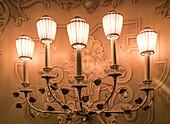 La Fenice opera theater, lamps,  Venedig, Venezia, Venice, Italia, Europe