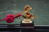 Gondola, gold statue, golden horse,  Venezia, Venice, Venedig, Italia, Europe