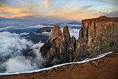 Aerial view of Santner peak at sunset, Sciliar Natural Park, Plateau of Siusi Alp, Dolomites, Trentino Alto Adige, Italy Europe