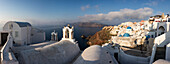 The white of the church and of houses and the blue of Aegean Sea as symbols of Greece Oia Santorini Cyclades Greece Europe