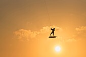 Kitesurfing action. Tarifa, Costa de la Luz, Cadiz, Andalusia, Spain.