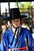 Portrait of Korean man in traditional costume, Jeonju, South Korea.
