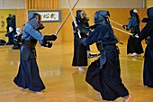 Full length of people practicing Kendo in Sartrouville,Yvelines,France.