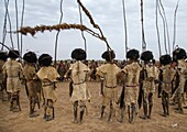 Dimi ceremony in the Dassanech tribe to celebrate circumcision of teenagers, Omo Valley, Omorate, Ethiopia.