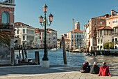 Afternoon at Grand Canal in Venice, Italy. Looking from Dorsoduro towards San Marco.