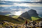 Norway, Nordland, Lofoten islands, Vestvagoy island, woman hiker at the summit of Himmeltinden (962m), view of Haukland, Vik and Utakleiv beaches below, Model Released.