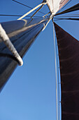 Low angle view of mast against clear of a traditional German fishing boat