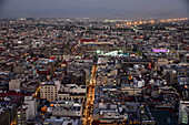 Evening view to Zocalo from Torre Latino America, Mexico City, Mexico