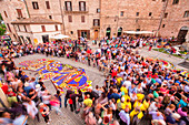 Europe, Umbria, italy, Perugia district, Spello, Artistic sacred figures realized with flowers on the occasion of the Corpus Christi
