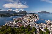 Alesund, Vestlandet, Norway, View from above of Alesund, one of most important port of Norway
