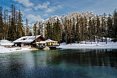 Ghedina lake, Cortina d'Ampezzo, Dolomiti, Dolomites, Veneto, Italy, Refuge at Ghedina lake