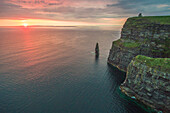 Cliffs of Moher Aillte an Mhothair , Doolin, County Clare, Munster province, Ireland, Europe, Aerial view of the cliffs at sunset