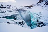 Iceland, Europe, Frozen Gullfoss waterfall in wintertime
