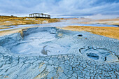 Myvatn district, northern Iceland, Cracked earth and mud volcano in Hverir