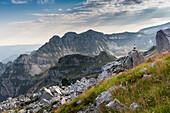 Europe, Italy, Veneto, Belluno, Landscape on the Piazza del Diavolo, Vette Feltrine, Dolomites, Belluno Dolomiti National Park