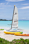 The resort on the Caribbean Sea and the boats for tourists Jolly Beach Antigua and Barbuda Leeward Island West Indies