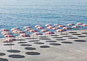 High angle view of parasols at beach during sunny day