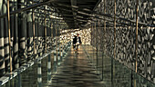 France, South-Eastern France, French Riviera, Marseille, two people in a passageway of the MuCEM (Museum of European and Mediterranean Civilisations) Mandatory credit: Architect Rudy Riciotti