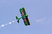 France, Seine et Marne (77). Meaux. Esbly. Meaux-Esbly Airfield, Air show, Boeing Stearman PT 17 during acrobatics