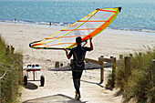 France, Vendee (85),  Noirmoutier island, Northwestern coast, La Cabane beach, a windsurfer.