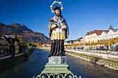 Statue of Johannes Nepomuk on Traun bridge with view to Mount Katrin, Bad Ischl, Salzkammergut, Upper Austria, Austria, Europe