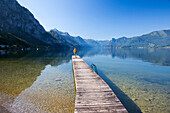 Boat jetty at Lake Traunsee, Upper Austria, Austria, Europe